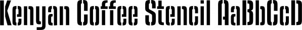 Kenyan Coffee Stencil font family by Typodermic Fonts Inc.