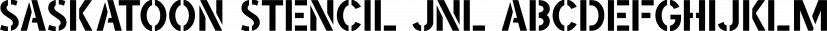 Saskatoon Stencil JNL font family by Jeff Levine Fonts